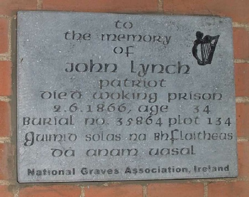 Memorial plaque to John Lynch, Brookwood Cemetery