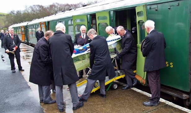 Mike Stollery's funeral on the Swanage Railway