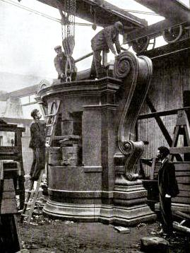 Setting up a granite monument