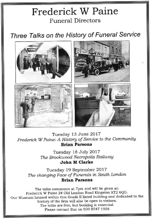 Three talks on the history of funeral services, FW Paine, Kingston 2017